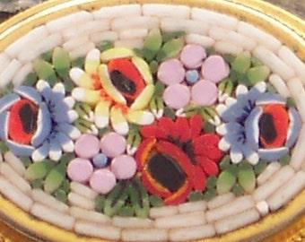 Vintage Italian Oval Tesserae Brooch