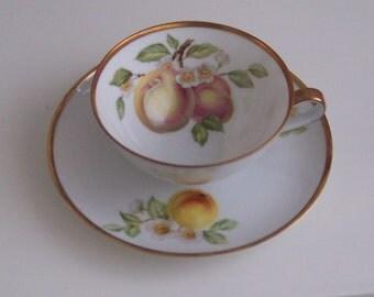 Hutschenreuther Gelb Peach Cup & Saucer