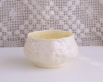 Vintage Irish Belleek Lotus Pattern Sugar Bowl