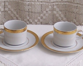Royal Gallery Gold 2 Espresso Cups & Saucers