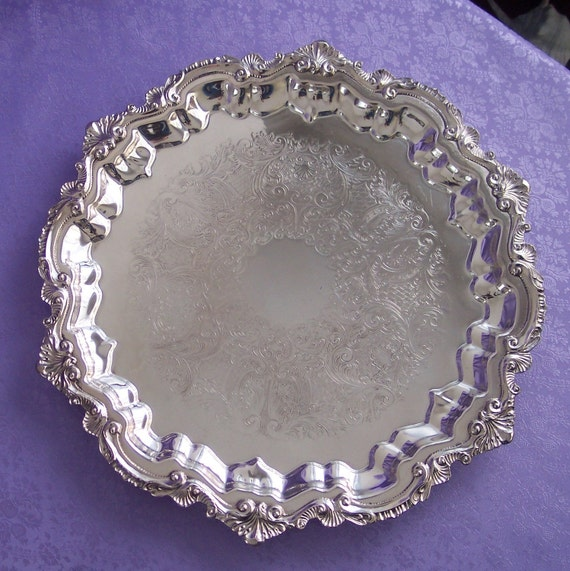 Magnificent Wallace Three-toed Chippendale Silverplate Serving Tray