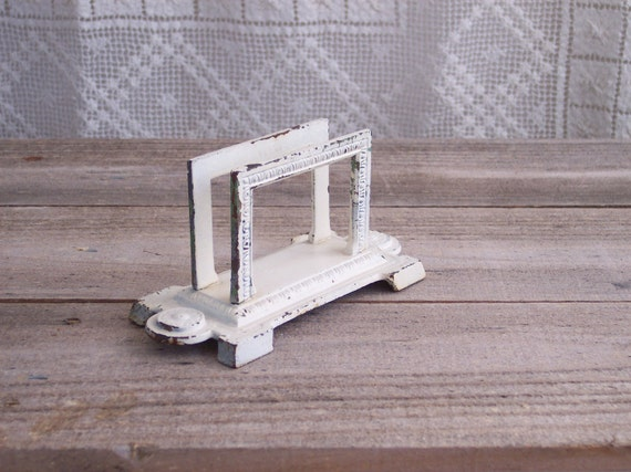 Vintage Shabby Painted Metal Desk Letter Holder
