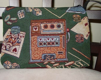 Casino Slot Machine and Cards Gambler Tapestry Cosmetic Clutch One of a Kind