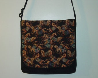 Happy Horses with the Blankets Tapestry Messenger Bag