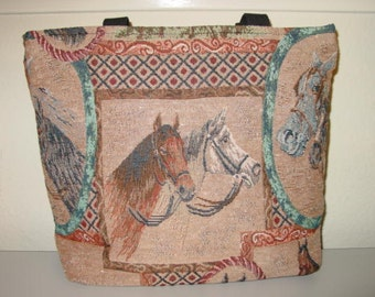 Horse Heads Tapestry All in One Tote Bag and  Purse