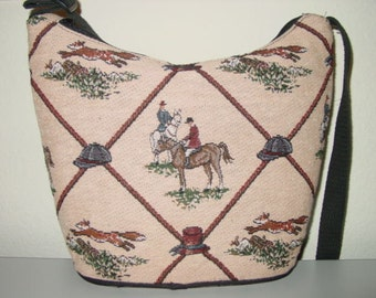 Fox Horse Hunt Scene Equestrian Tapestry Purse,Horse Handbag,Fox Hunt Scene Handbag,Equestrian Handbag