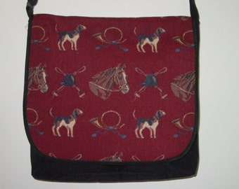 Horse and Hound Tapestry Messenger Bag Cool Equestrian Gifts Horse Gifts