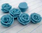 10 SMALL ROSE Cabochons - 12mm - Aqua Color