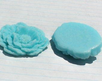GIANT Ruffle Rose Cabochons - Lot of 4 - 40x45mm - Sky Blue Color