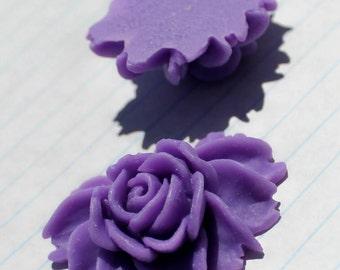 LARGE Cabbage Rose Cabochons - Lot of 4 - 34x43mm - Lavender Color