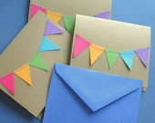 Rainbow Bunting Banner Party Flag Cards - Set of 3 with envelopes