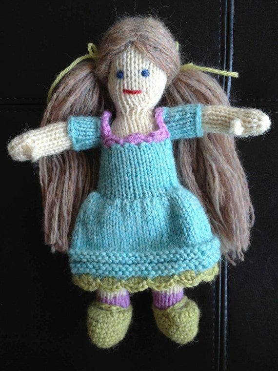 100% Wool Doll, Handknit, Blonde, All Natural