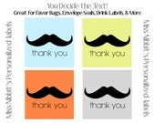 Reserved Listing: Printed Mustache Stickers (Set of 40)