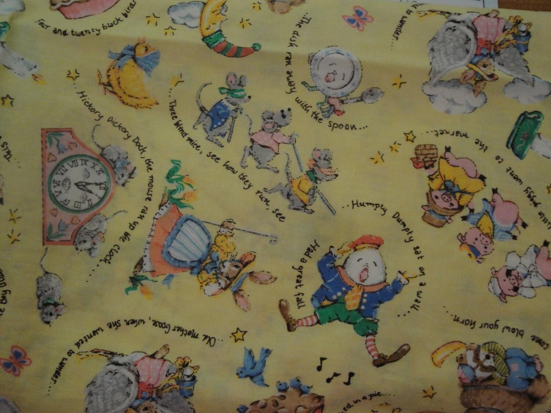 Vintage yellow nursery rhyme fabric 1 yard for Yellow nursery fabric