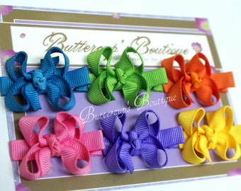 Baby bows, infant bows, snap clips, itty bitty bows, set of 6 bitty bows, you choose colors