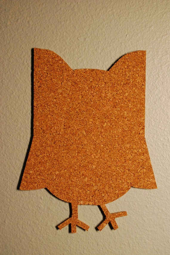 hand cut owl cork bulletin board message board by featherblooms. Black Bedroom Furniture Sets. Home Design Ideas