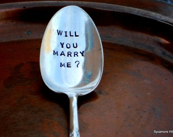 Will You Marry Me, the ORIGINAL Proposal Teaspoon. Breakfast in Bed Proposal. The ORIGINAL Hand Stamped Vintage Coffee Spoons