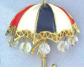 Vintage Cheery 1960's Red, White, Blue ENAMELED UMBRELLA Pin w/Crystal Raindrops
