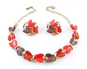 THERMOSET Heart Shape Leaves Necklace and Earrings - Orange n Chocolate Brown- Vintage