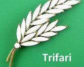 TRIFARI Wheat Stalk Pin with White Milk Glass Rhinestones
