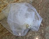 Ivory White Cream Shimmer Birdcage Pouf Veil/Blusher/Hair Piece/Illusion veil/Wrap Veil