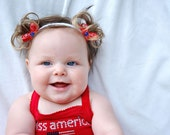 My First Piggies Faux Pigtail Headband- 4th of July Celebration