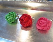 3 Hair Clips, Silk Rose Flower - Red, Pink, Green - Sweet Heart, Valentines Day Gift,  Love