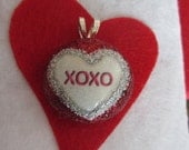 XOXO Heart Pendant Necklace Valentines Day Sweetheart Love Red and White, Huges and Kisses, Silver, Gift