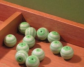 Green and White Striped Beads
