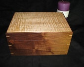 """Finely Crafted and Upholstered Tiger Maple and Walnut Keepsake Box.  9.75"""" x 7"""" x 5"""""""