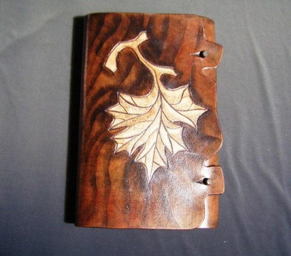 LEAF Leather Refillable Journal carving in leather Art Goldberg