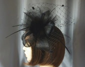 Black  Fascinator with goose feathers