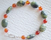 Chinese Chrysoprase, Red and White Agate, and Silver Bracelet