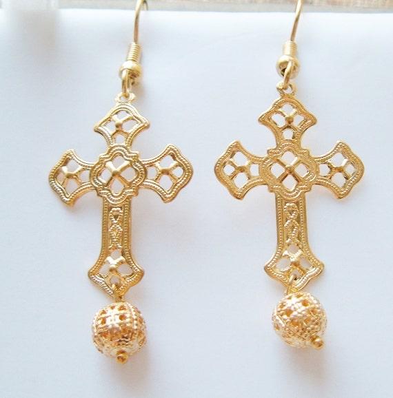 Filigree Cross Earrings