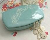 Vintage Robin's Egg Blue Large Ceramic Jewelry Box