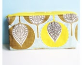 hand embroidered pencil pouch with 2 zippers