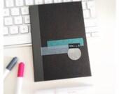little black notebook -  hallo - hello -  washi tape embellishment