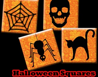 Sale Halloween Digital Collage Sheets .75 x .83 inch Scrabble Tile Images  for Pendants, , Scrapbooking , Wine Charms, Favors