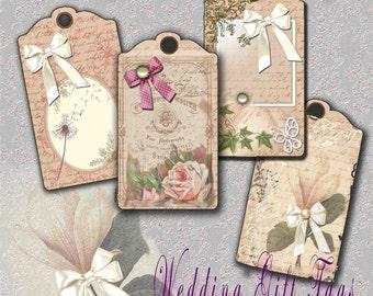 Printable Gift Tags Digital Vintage Wedding Printable Hang Tags Using Ephemera Printable download Paper Floral Brown