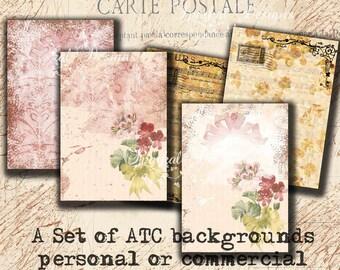 Digital Backgrounds Vintage Digital ATC Tags Printable Digital Collage Sheet Digital Scrapbooking L2012