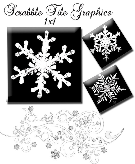 Snowflake Digital Collage Sheets 1 inch Scrabble Tile Squares use for Pendants, Scrabble Tiles, Scrapbooking , Wine Charms, Favors