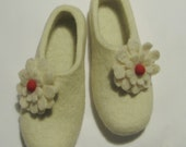 Felted Wool Slippers White with Red Felted Flowers. In case of Cold Feet. Custom made.