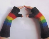 Sale Felted fingerless gloves Spring RAINBOW arm warmers Extra long - Women's sizes  - Narrow Ready to ship