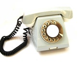 Spring Pastels. 70s Soviet Rotary Retro Phone. Grey Gray White Vintage Excellent Working Home Decor Collect from USSR