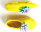 Felted Wool Shoes Woman Felt Slippers Yellow Floral Wool Shoes Gift Idea Grandmother Gift Cold Feet