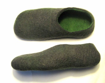 Mens Wool Slippers Gift For Him Grey Green Slippers Rubber Soles Husband Gift Shoes for Men Mens Slippers Unique Gifts for Men House Shoes