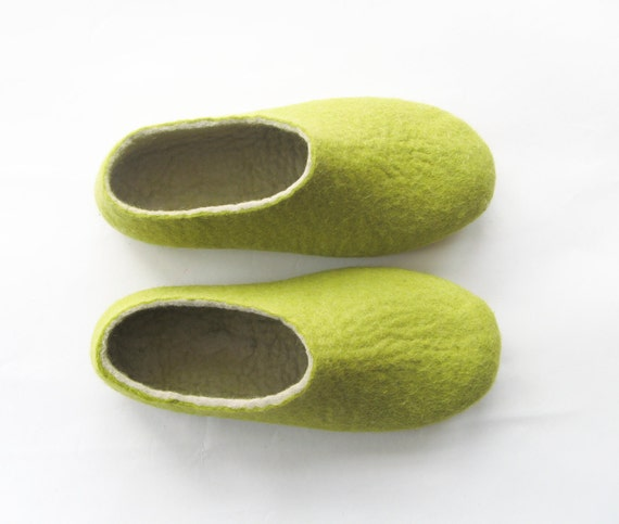 Relax. Get a Good Green Tea. Felt Shoes Green with Sole. Unisex sizes. Womens size. Made to order Felted House Shoes - 100% Custom Made