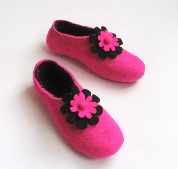Hot Pink Slippers - Floral Wool Shoes - Minimalist Shoes - House Shoes - Womens Shoes - Rubber Soles - Christmas in July - Mothers Day Gift