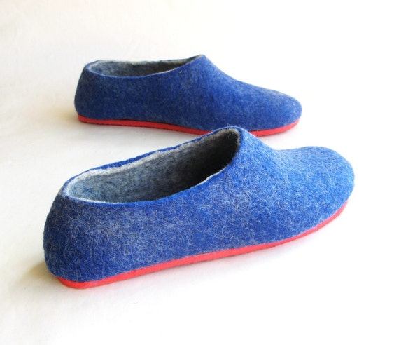 Nautical Felt Slippers - Wool Felted Shoes - Christmas Gifts - Minimalist Shoes - Indoor Shoes - Rubber Soles - Gift for Her - Custom Shoe