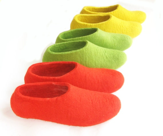 CHRISTMAS Gift - Women's Wool Felted Slippers Rubber Soled or Cork Soled - Gifts For Her - 100% Wool - Felt House Shoes - Women's sizes